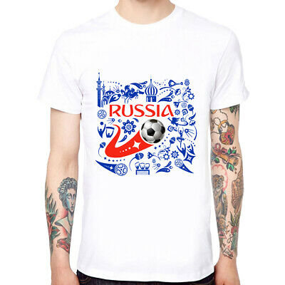 Russia Football 2018 FIFA Men's Soft Cotton Funny T-shirts Short Sleeve Tops Tee
