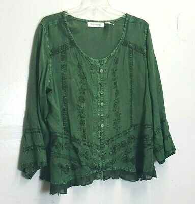 c1526b250dc ROAMANS Women s plus size 22W Green Long Sleeve full button Shirt Top ruffle