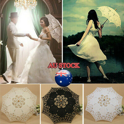 Handmade Cotton Lace Parasol Umbrella + Hand Fan For Bridal Wedding Bridal Party