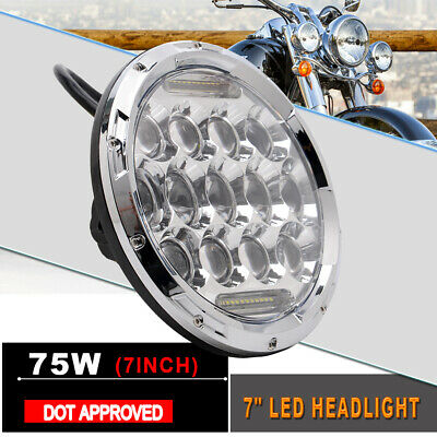 7 inch New 75W Round Motorcycle Front Headlight 13 LED Head Lamp Bulb For Harley