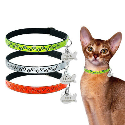 Personalised Fluorescence Cat Collar Kitten Pet Cats Collars Engrave Free & Bell