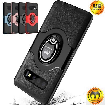 For Samsung Galaxy S10, S10 Plus Shockproof Ring Holder Rugged Armor Case Cover
