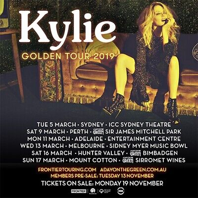 1 x Kylie Early Entry GA Ticket for Melbourne 13th March