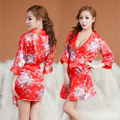 Kimono Dressing Gown Bath Robe Babydoll Lingerie Nightdress With Bra Underwear