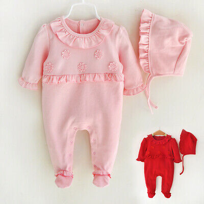 Cute Newborn Baby Girl Winter Long Sleeve Ruffle Romper Jumpsuit Outfit Clothes