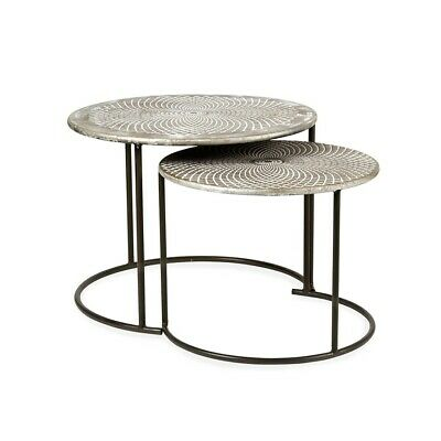 Set 2 Nested Punched Geometric Round Metal Side Table Bedside Furniture 58x58CM