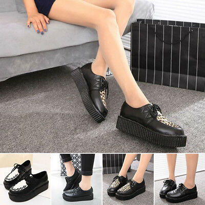 New Women's Ladies Flat Platform Wedge Lace Up Goth Punk Creepers Shoes Boot