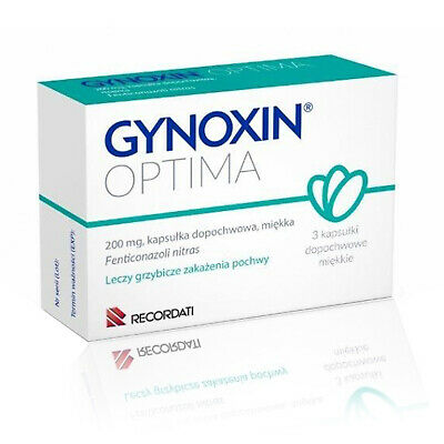 Gynoxin Optima 200mg 3 Vaginal Caps Tablets Vaginal Yeast Infection Treatment