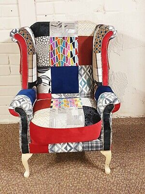 Orphophedic Chesterfield Queen Anne Patchwork Armchair
