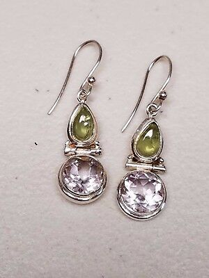 "2.24/"" Solid Sterling Silver Pearl Elegance Dangle Earrings 3.05g GORGEOUS"