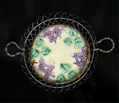 Antique Majolica Purple Lilac Plate In Wire Basket Frame Germany