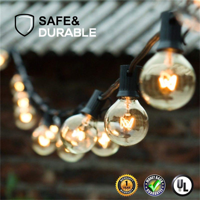 Guddl Globe String Lights with 27 Clear G40 Bulbs, Connectable Outdoor /Indoor