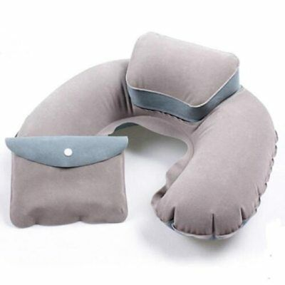 Air Cushion Travel Pillow Rest Gray U-Shape Compact Neck Plane Flight Inflatable