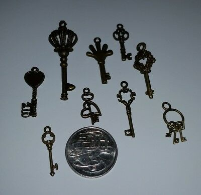 9 x small keys (LOT #1) copper craft charms