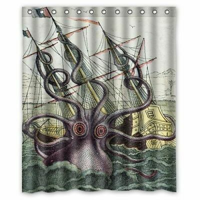 New Kraken Octopus Attack Merchantman Ship Shower Curtain 60