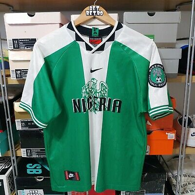 new style 15d63 d07ad VTG 90S NIKE Nigeria National Team Soccer Football Jersey Green White Size  M NFA