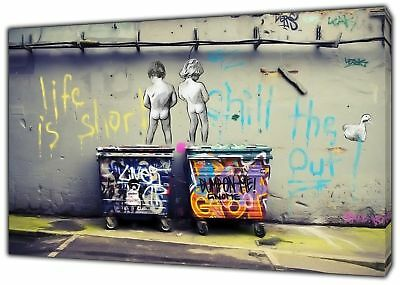 Banksy LIfe is short  Peeing Art Reprint on Framed Canvas Wall Art Decor