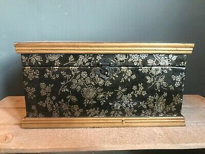 Large Jewellery/Trinket Box in wood and faux leather with embossed flower design