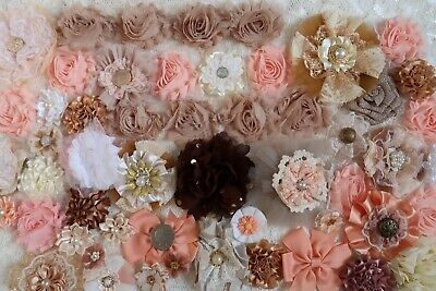 Fabric Flowers Crafts Cards Sewing Floral Decor Embellishments x 50