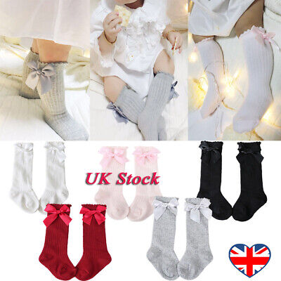 UK Baby Girls Knee High Cotton Lace Socks Long Princess Meias with Bow Stockings