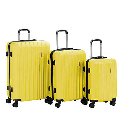 """3PCS Luggage Set Travel Bag Trolley Spinner Carry On Suitcase 20"""" 24"""" 28"""" Yellow"""