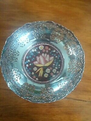 Lei Lani Bowl silver metal with a small floral insert