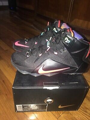 f4c5fcc47f18 NIKE LEBRON JAMES 12 XII 684593-068 Black Mango Hyper Punch Men s ...