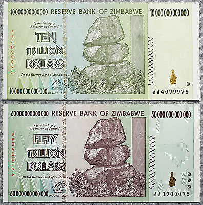 Set of 2 diff. Zimbabwe 10 au and 50 au Trillion Dollars P-88 and 90 2008