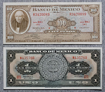 2 different Mexico 100 Pesos 1972 about xf and 1 Peso 1970 Au