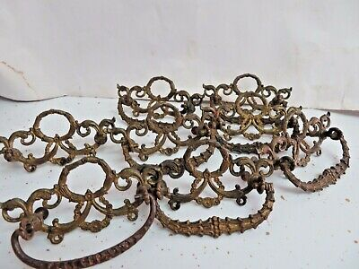"8 Vintage Antique Victorian Brass Ornate Drawer Pulls4 1/2"" w/bails & swrews"