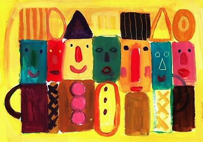 Original Naive Painting On Paper