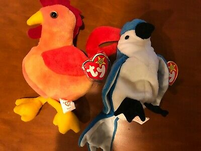Ty Beanie Baby Rocket Bluejay AND Strut - Both with Tags- Fast Free Shipping
