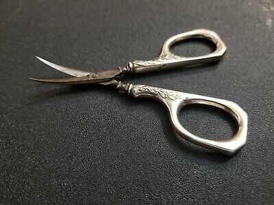 Antique Sterling Silver small grape or sewing scissors made in germany very good