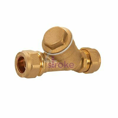 Compression Inline Y Filter 15mm Brass Body With Stainless Steel Strainer