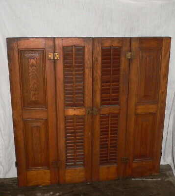 Over 100 year old Hard Wood Window Shutters Chamfered Panels Louvered