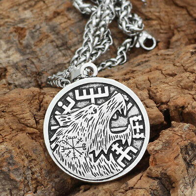 Norse Viking Pendant Norse Wolf Head Mens Necklace Animal Amulet Cord Rope Chain