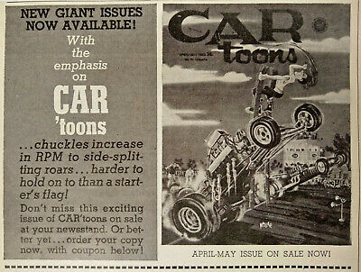 CARtoons Print Ad Flyer April May On Sale Now Send For Hot Rod Comic 1960s Vtg