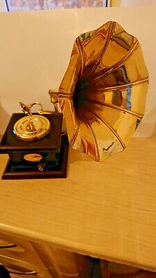 Vintage Antique Brass Gramophone Phonograph Collectable Room Office Decorative