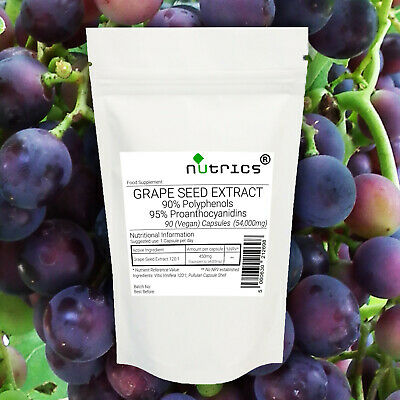 Nutrics® GRAPE SEED EXTRACT 54000mg STRONG 100% Pure Vegan Capsules