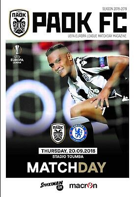 Programme PAOK Greece v Chelsea 2018 Europa League. 12 pages Size A4. Unofficial