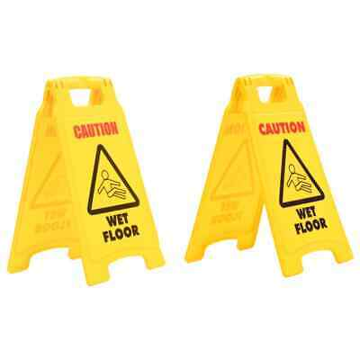 vidaXL 2x Caution Wet Floor Signs Plastic 47cm Safety Equipment Security Warn