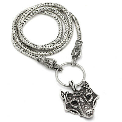 Norse Viking Pendant Norse Wolf Thor' s Hammer Mens Rope Chain Necklace Amulet
