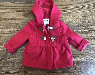 24ec44e909a5 NWOT OLD NAVY Baby Girl Coat Hooded Red Toggle Coat 6-12 Months ...