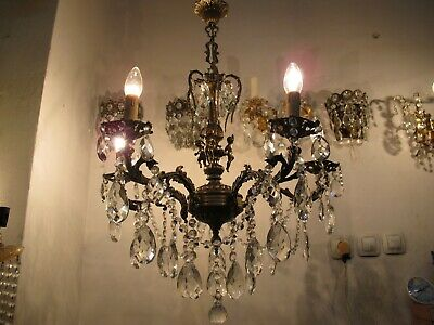 Antique Vintage Massive Bronze 5 arms Crystal Chandelier Lamp lustre 1960s RARE
