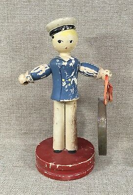 Antique Hand Painted Wooden Sailor Boy Figurine With Metal Gong