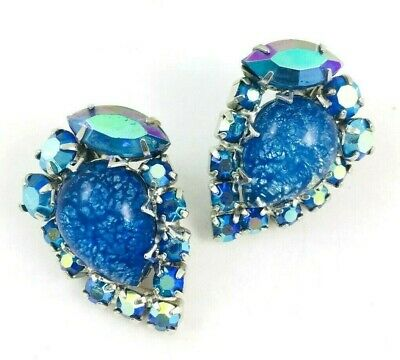 Vintage JULIANA Blue Opal Art Glass AB Rhinestone Clip Earrings REPAIRED