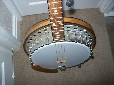 vintage used 4 string banjo enclosed back