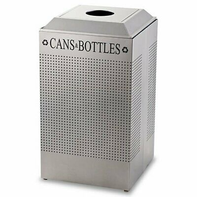 Silhouette Can/bottle Recycling Receptacle, Square, Steel, 29gal, Silver