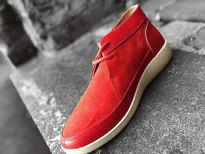 db2b48bf482 Johnny Famous Central Park Men s Red Suede Bally Style Casual Oxford Shoes
