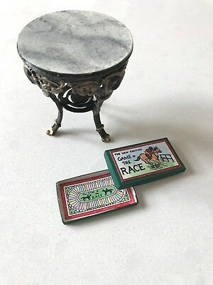 Miniature Hand Painted Victorian Style Table Faux Marble Top